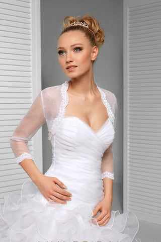 3/4 Sleeve Illusion Tulle Bridal Jacket Scalloped Lace Top, Sheer Wedding Jacket with Lace