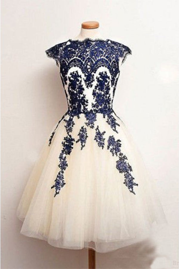 Knee Length Lace Applique Short Tulle Prom Dresses, A Line Ivory Homecoming Party Dresses