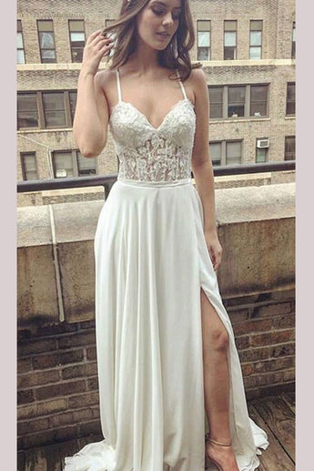 Simple Ivory Lace Long Prom Dress,Spaghetti Straps Split Side Beach Wedding  Dress,,