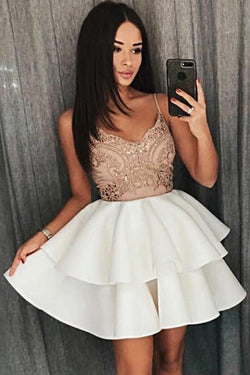 A Line Cheap Spaghetti Strap Ivory Tiered Homecoming Dress with Appliques
