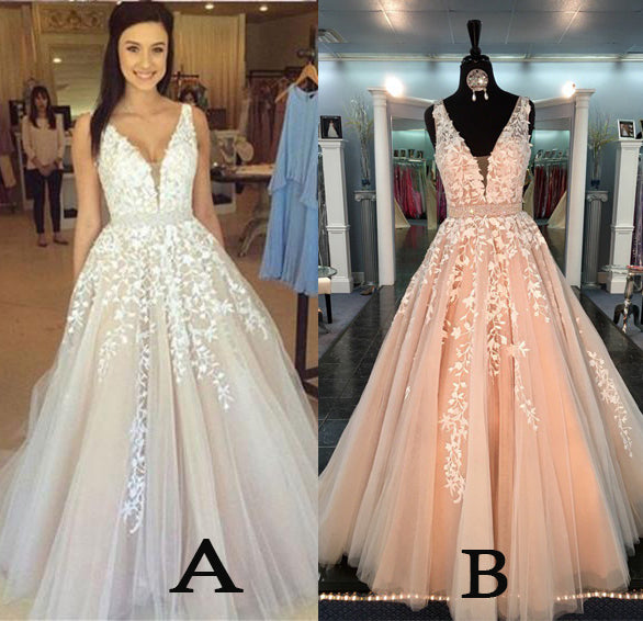 A-line V Neck Long Sexy Prom Dress,Lace Appliques Long Wedding Dresses N01