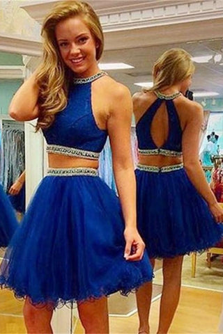 Two Piece Strapless Beading Prom Dress Homecoming Dresses ED06