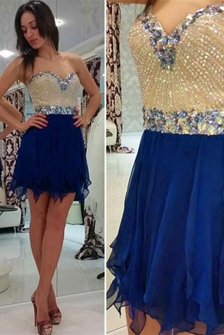 V-neck Chiffon Beading Mini Prom Dress Homecoming Dresses ED11