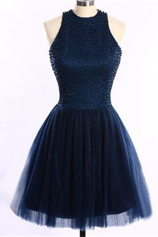 Navy Blue O-Back Short Prom Dresses Homecoming Dress ED13