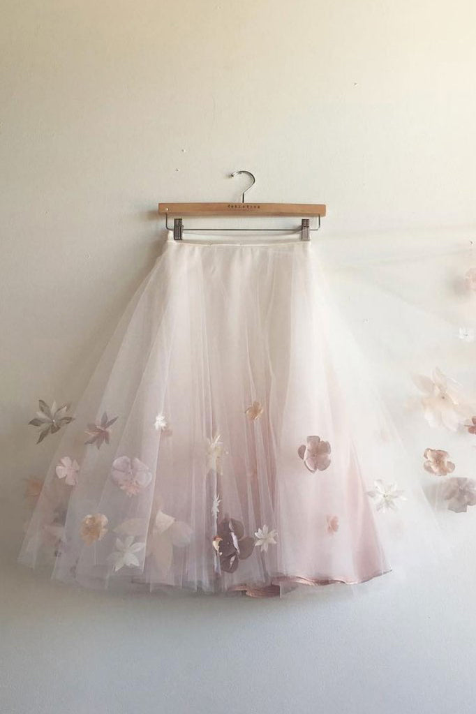 Knee Length Tulle Skirt with Appliques, Cute A Line Tulle Skirt, Cheap Tulle Skirt