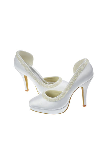 White Woman Heels With Beadings Wedding Shoes L-005