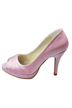 Peep Toe Pink woman heels woman Fashion Wedding Shoes L-011