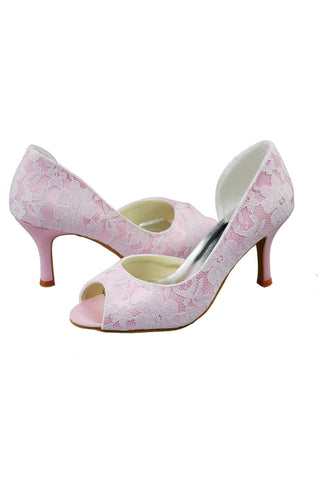 Hand Made Woman Heels Lace Wedding Pary Shoes L-042T