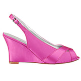 Fuchsia Wedge Wedding Shoes with Rhinestone, Peep Toe Fashion Wedding Party Shoes, L-934