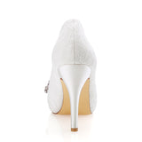Ivory High Heels Wedding Shoes with Rhinestone, Peep Toe Fashion Wedding Party Shoes, L-935