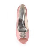 Light Pink High Heels Wedding Shoes with Rhinestone, Peep Toe Fashion Wedding Woman Shoes, L-936