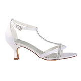 White Wedding Shoes with Rhinestone, Peep Toe Fashion Wedding Party Shoes, L-937