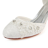 Ivory Wedding Shoes with Rhinestone, Fashion Lace Wedding Party Shoes, L-938