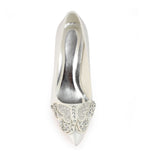 Ivory High Heels Wedding Shoes with Rhinestone, Fashion Satin Wedding Party Shoes, L-940