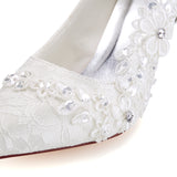 Ivory High Heels Wedding Shoes with Appliques, Fashion Lace Evening Party Shoes, L-941