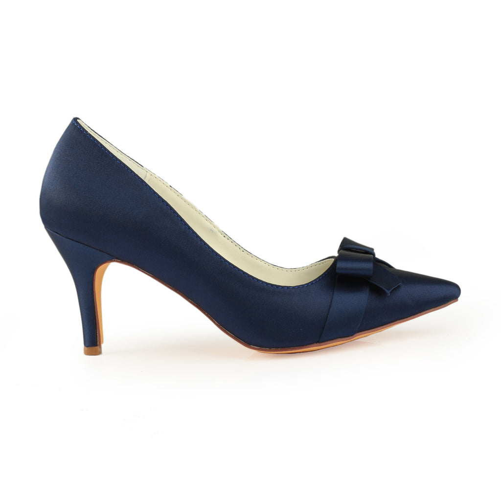 Navy Blue High Heels Wedding Shoes with Bowknot, Fashion Satin Evening Party Shoes, L-942