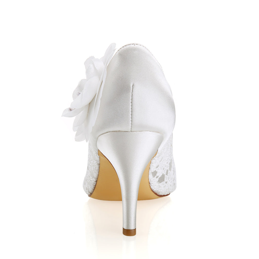 Ivory High Heels Lace Wedding Shoes with Flowers, Wedding Party Shoes, Woman Shoes L-943