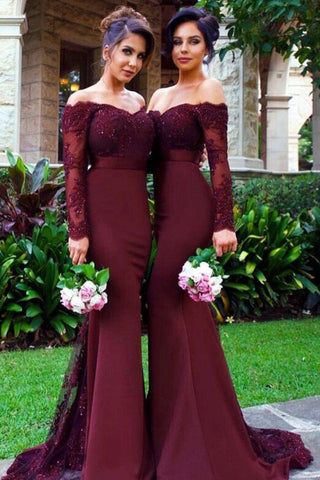 Mermaid Off-the-Shoulder Long Sleeves Bridesmaid/Prom Dress with Lace Appliques,N746