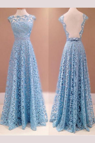 A-line Blue Sleeveless Lace Floor-length Prom Dresses,Sexy Evening Dresses,N642