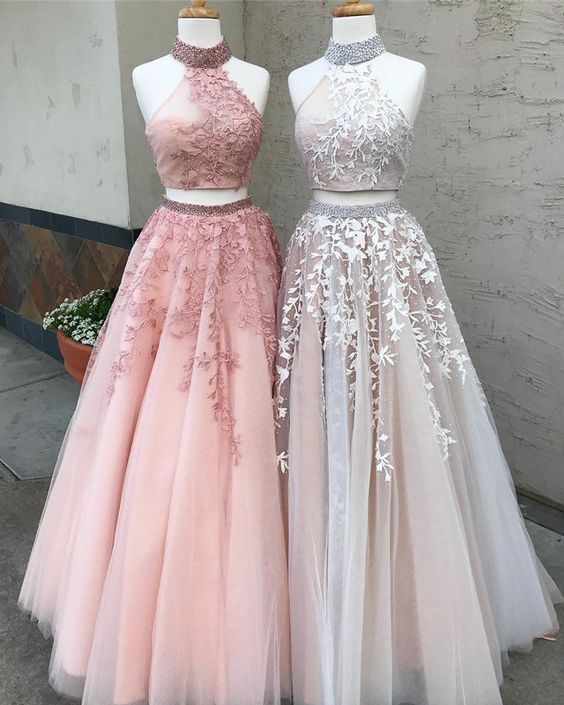 Two Pieces Lace Crop Top High Neck Appliques Tulle Prom Dresses with Beads 2018,N532
