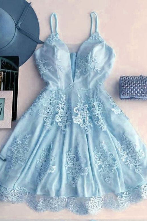 Light Blue Spaghetti Strap Lace Appliqued Short Homecoming Dresses, Sexy Mini Prom Dress