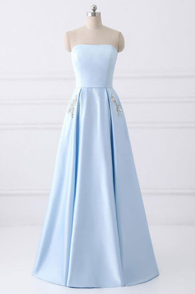 Light Blue Strapless Satin Floor-length Prom Dress With Beaded Pockets Lace Up Back,N635