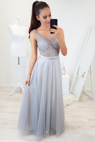 Floor Length Sleeveless Beading Tulle Prom Dresses, Sexy Long Senior Prom Gown N16658