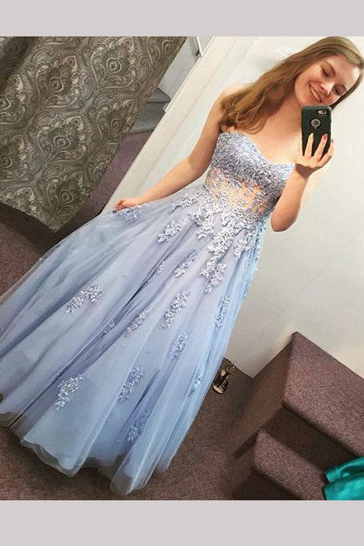 Light Lavender Sweetheart Floor-length Prom Dress with Appliques,Long Party Gown,N677