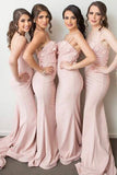 Light Pink Stylish Mermaid Spaghetti Straps Applique Satin Long Bridesmaid Dress,N590