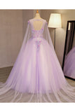 86d70a6f55 ... Unique Lilac Tulle Long Ball Gown Evening Dress with Flowers
