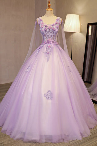 db1c6ea103 Unique Lilac Tulle Long Ball Gown Evening Dress with Flowers