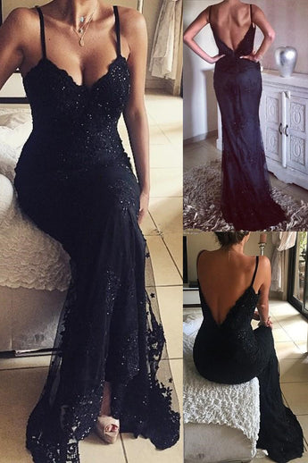 Vintage Mermaid Black Long Beaded Lace Appliques V-Neck Prom Dresses,N709