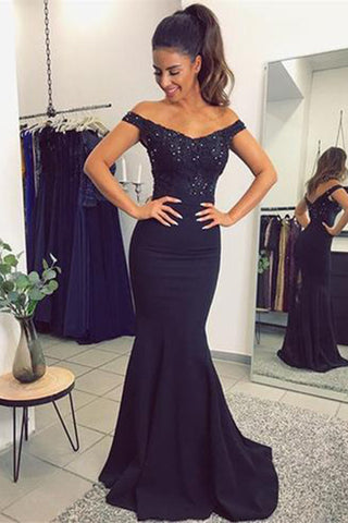 Navy Blue Off The Shoulder Mermaid Evening Dresses With Lace Beads
