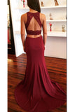 Burgundy Two Piece Open Back Prom Dress with Lace Sweep Train Evening Dress N774