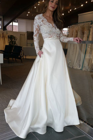 Elegant Ivory Long Sleeves Sweep Train Satin Long Wedding Dress with Top Lace,N517