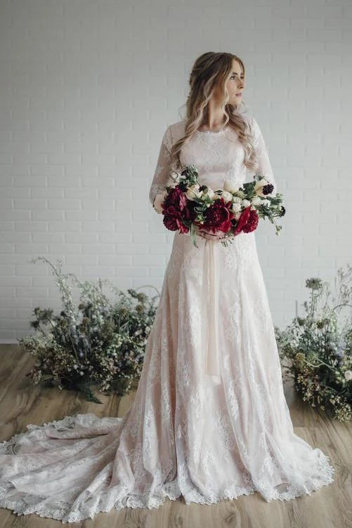 A Line Long Sleeve Lace Wedding Dresses Plus Size Vintage Rustic Wedding  Dress N2263