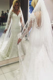 Long Sleeves V-neck Sheer Back Mermaid Wedding Dress,Bridal Dresses,N545
