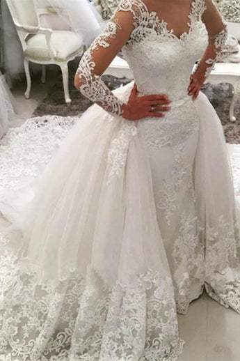 Gorgeous Ivory V-Neck Long Sleeves Appliques Watteau Train Wedding Dress,N618