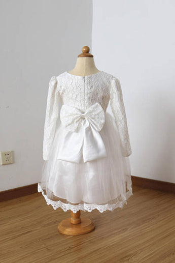 Long Sleeves Ivory Lace Tulle Flower Girl Dress with Lace Edge