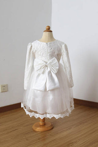 5dfec248c0d A Line Long Sleeves Ivory Lace Tulle Flower Girl Dress with Lace ...