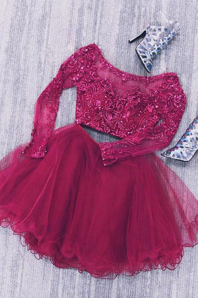 Two Piece Long Sleeves Tulle Short Homecoming Dress with Lace Beads, Short Prom Dress N1694