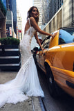 Luxurious Ivory Straps Mermaid Sleeveless Long Deep V-neck Tulle Wedding Dress with Lace,N525