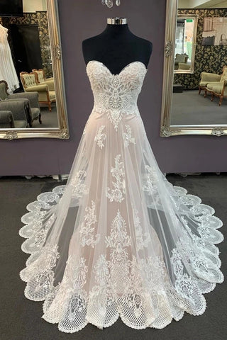 A Line Sweetheart Sleeveless Lace Appliqued Beach Wedding Dress, Cheap Bridal Dress N2534
