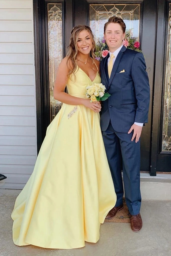 Daffodil Spaghetti Straps Backless Long Satin Prom Dresses With Pockets N2627