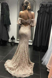Ivory Mermaid Spaghetti Straps Open Back Lace Prom Dress, Lace Wedding Dress N1443