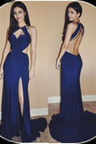 Cheap Mermaid Jewel Sweep Train Open Back Long Prom Dress with Side Slit,N725
