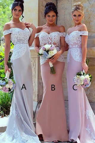 Blush Mermaid Off-the-Shoulder Sweep Train Stretch Long Bridesmaid Dress with Lace,N595