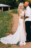 Mermaid Off-the-shoulder Trumpet Tulle  Appliques Lace Beach Wedding Dresses,N656