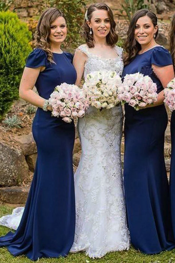 Dark Blue Round Neck Cap Sleeves Mermaid Bridesmaid Dress,Cheap Bridesmaid Gown N803