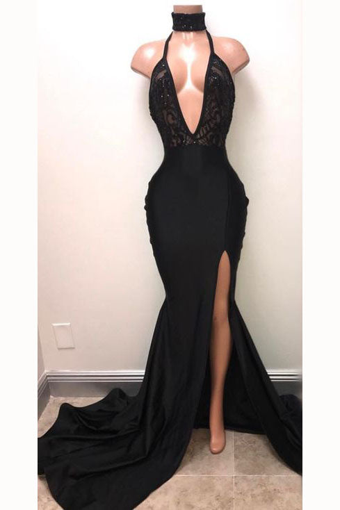 Sexy Black Straps Deep V-neck Mermaid Split Sleeveless Evening Dress with Lace,N606